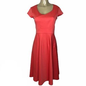 Laura Ashley coral for and flare dress